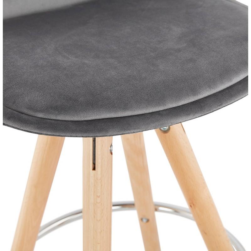 Tabouret de bar mi-hauteur scandinave en velours pieds bois couleur naturelle MERRY MINI (gris) - image 45772