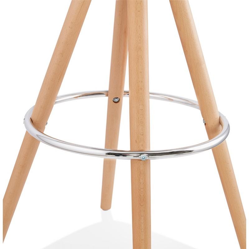 Tabouret de bar mi-hauteur scandinave en velours pieds bois couleur naturelle MERRY MINI (gris) - image 45775