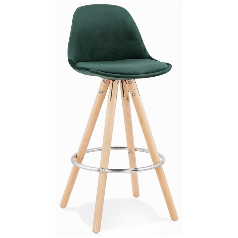Tabouret de bar mi-hauteur scandinave en velours pieds bois couleur naturelle MERRY MINI (vert) - image 45779