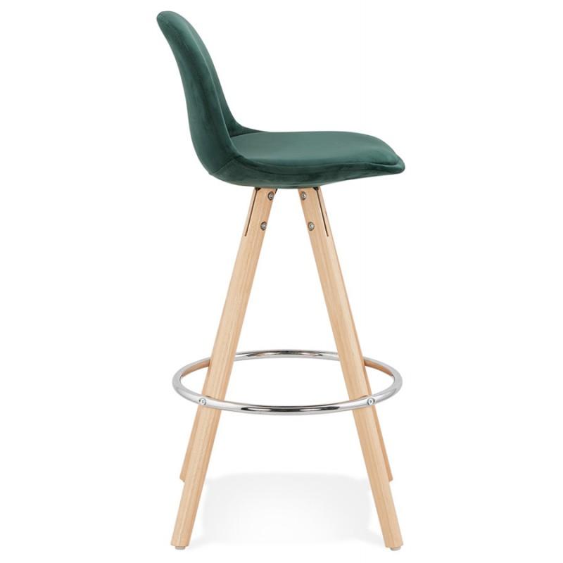 Tabouret de bar mi-hauteur scandinave en velours pieds bois couleur naturelle MERRY MINI (vert) - image 45781