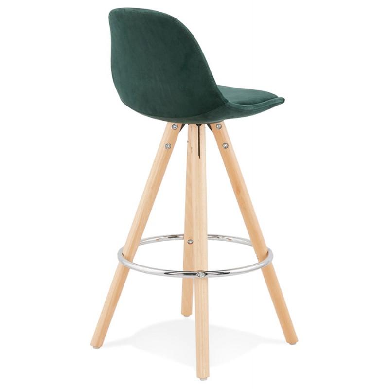 Tabouret de bar mi-hauteur scandinave en velours pieds bois couleur naturelle MERRY MINI (vert) - image 45782