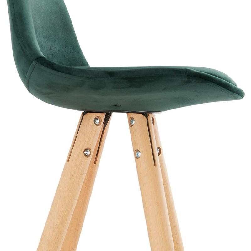 Tabouret de bar mi-hauteur scandinave en velours pieds bois couleur naturelle MERRY MINI (vert) - image 45787