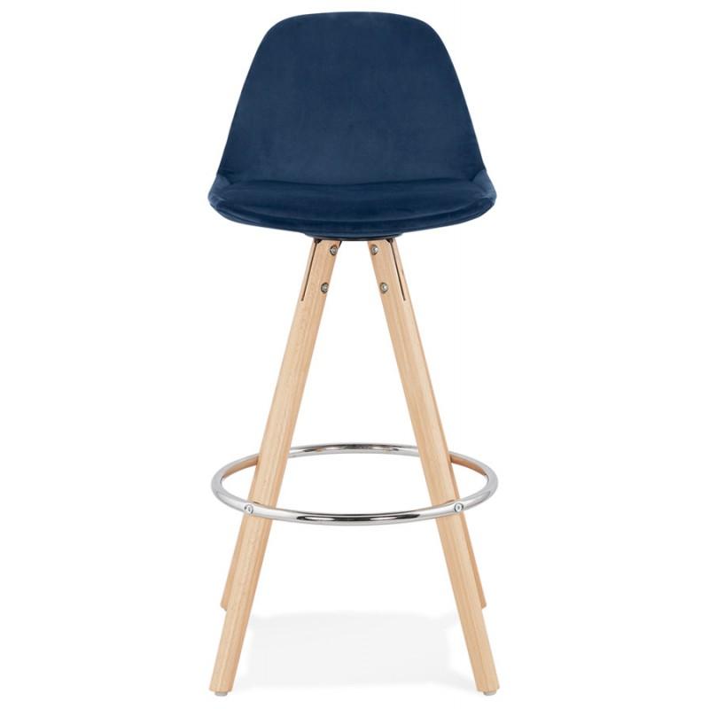 Bar scandinavo a media altezza intesa in velluto piedi in legno color naturale MERRY MINI (blu) - image 45793