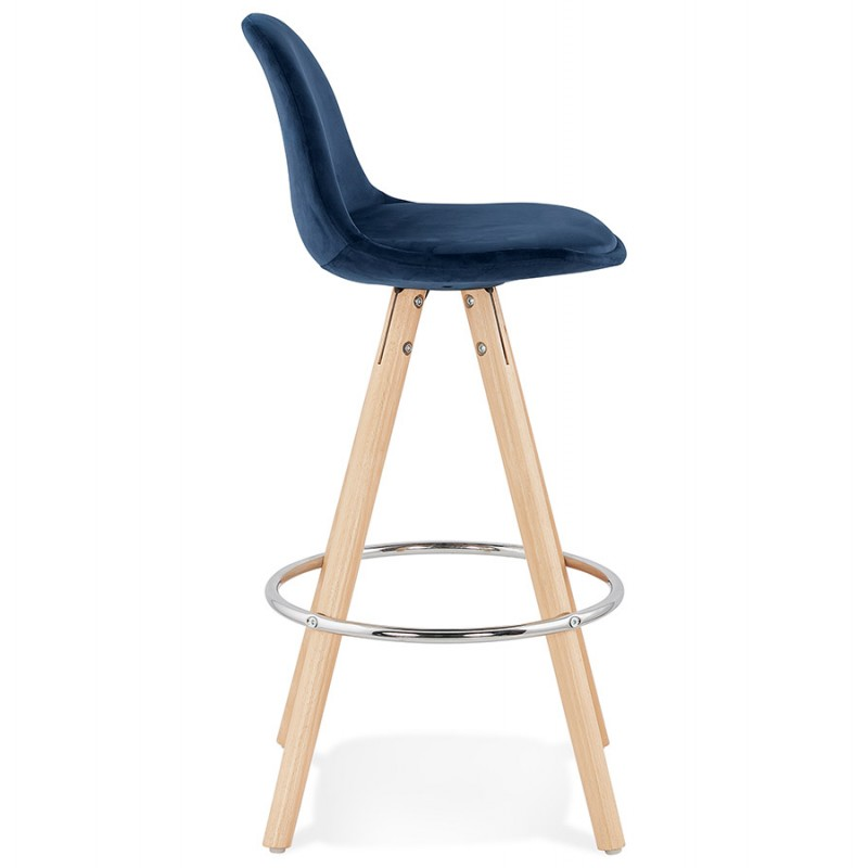 Bar scandinavo a media altezza intesa in velluto piedi in legno color naturale MERRY MINI (blu) - image 45794