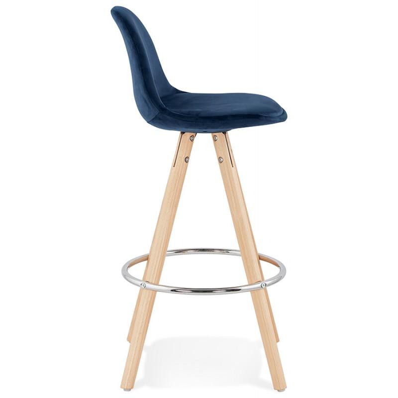 Tabouret de bar mi-hauteur scandinave en velours pieds bois couleur naturelle MERRY MINI (bleu) - image 45794