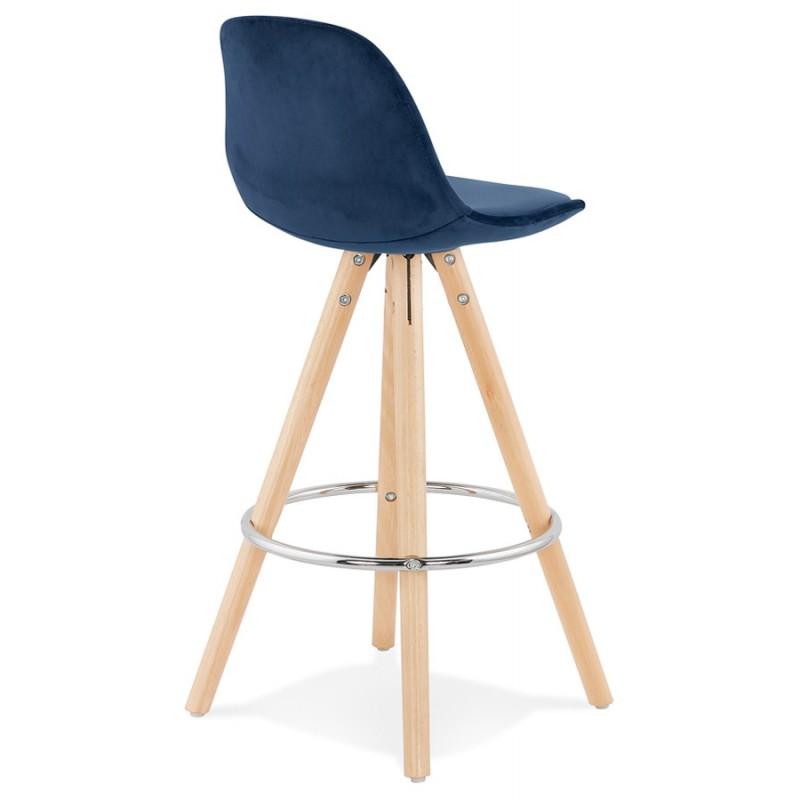 Tabouret de bar mi-hauteur scandinave en velours pieds bois couleur naturelle MERRY MINI (bleu) - image 45795