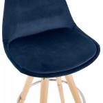 Tabouret de bar mi-hauteur scandinave en velours pieds bois couleur naturelle MERRY MINI (bleu)