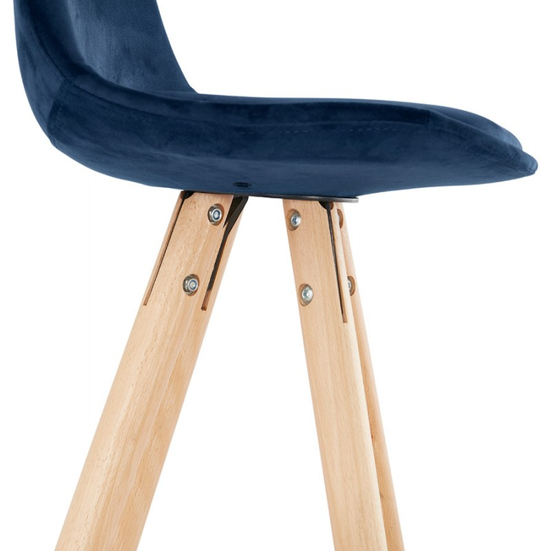 Tabouret de bar mi-hauteur scandinave en velours pieds bois couleur naturelle MERRY MINI (bleu) - image 45800