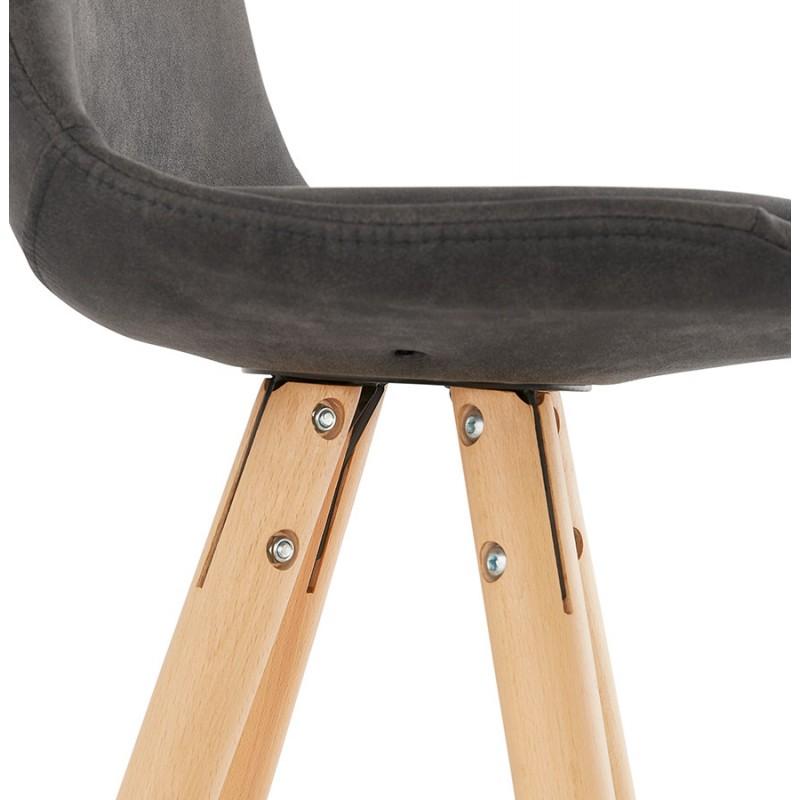 Tabouret de bar mi-hauteur scandinave en microfibre pieds bois couleur naturelle TALIA MINI (gris foncé) - image 45813