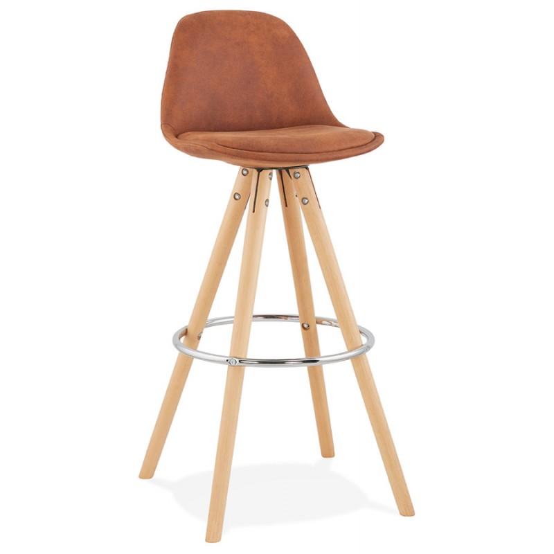 Scandinavian bar stool in microfiber feet wood natural color TALIA (brown)