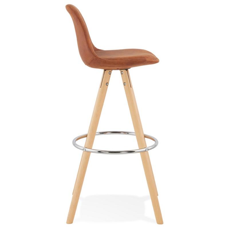 Scandinavian bar stool in microfiber feet wood natural color TALIA (brown) - image 45820