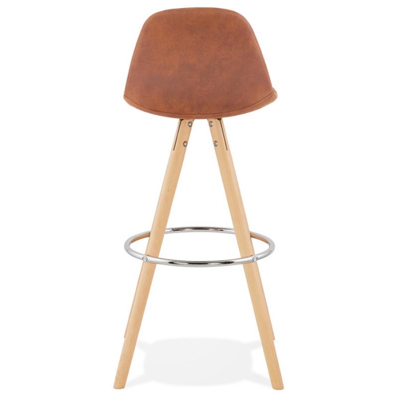 Tabouret de bar scandinave en microfibre pieds bois couleur naturelle TALIA (marron) - image 45822