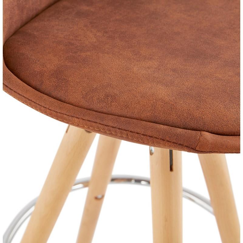 Scandinavian bar stool in microfiber feet wood natural color TALIA (brown) - image 45825