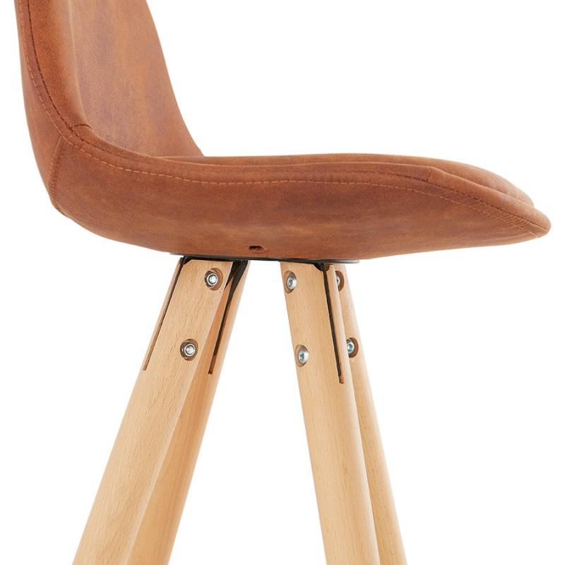Scandinavian bar stool in microfiber feet wood natural color TALIA (brown) - image 45826