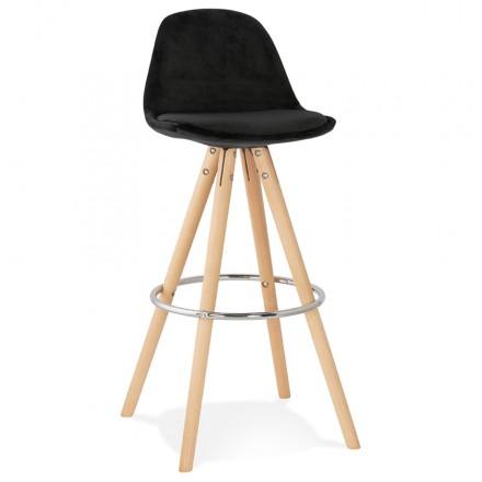 Tabouret de bar scandinave en velours pieds bois couleur naturelle MERRY (noir)