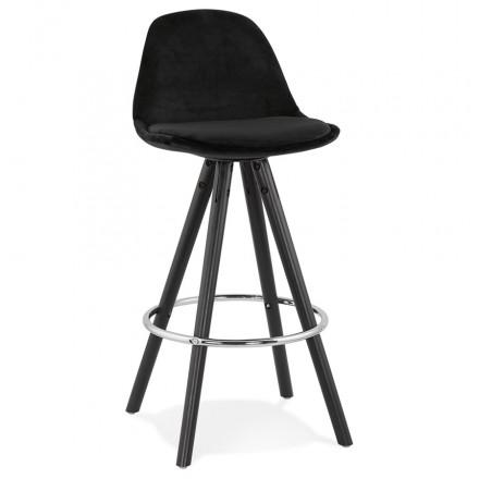 Disegno del set bar a media altezza in velluto nero piedi in legno MERRY MINI (nero)