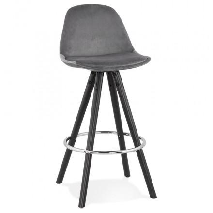 Tabouret de bar mi-hauteur design en velours pieds bois noir MERRY MINI (gris)
