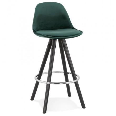 Diseño de conjunto de barra de altura media en pies de madera negros de terciopelo MERRY MINI (verde)