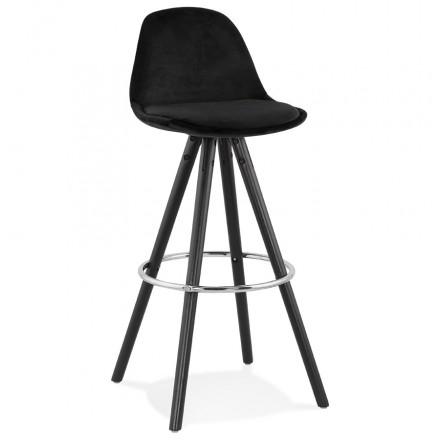 Bar set design in velvet black wooden feet MERRY (black)