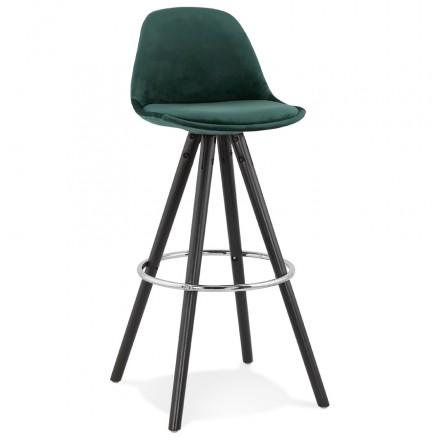 Tabouret de bar design en velours pieds bois noir MERRY (vert)