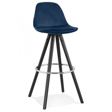 Tabouret de bar design en velours pieds bois noir MERRY (bleu)