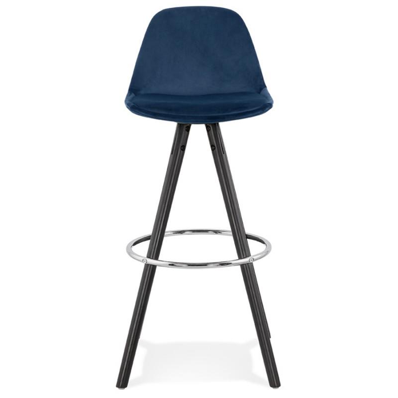 Tabouret de bar design en velours pieds bois noir MERRY (bleu) - image 46007