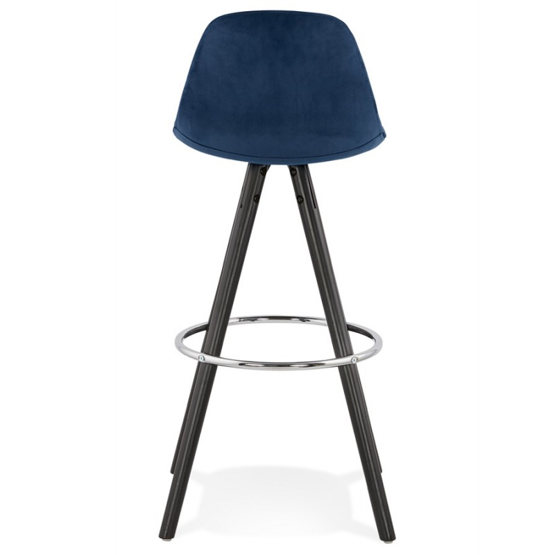 Tabouret de bar design en velours pieds bois noir MERRY (bleu) - image 46010