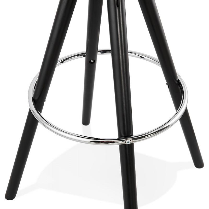 Tabouret de bar design en velours pieds bois noir MERRY (bleu) - image 46015