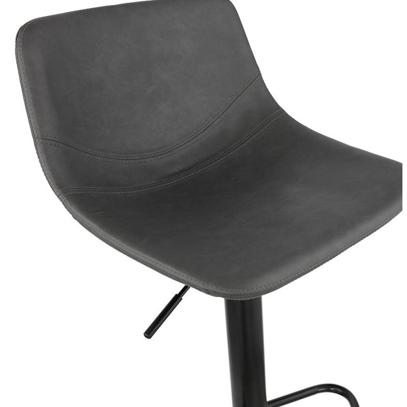 Tabouret de bar vintage rotatif et réglable pieds noirs MAX (gris foncé) - image 46083