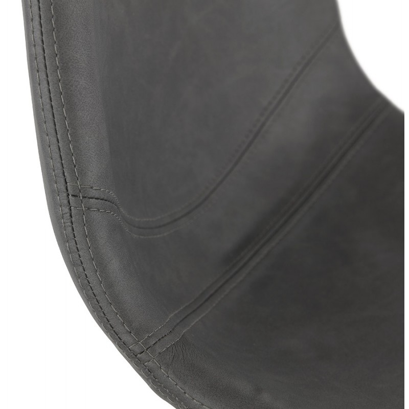 Tabouret de bar vintage rotatif et réglable pieds noirs MAX (gris foncé) - image 46084