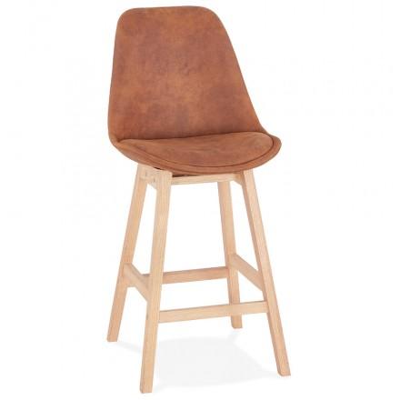 Almohadilla de barra de altura media Diseño escandinavo en patas de microfibra color natural LILY MINI (marrón)