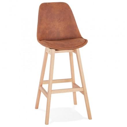 Taburete de barra de diseño escandinavo en patas de microfibra color natural LILY (marrón)