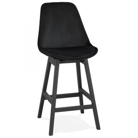 Tabouret de bar mi-hauteur design en velours pieds noirs CAMY MINI (noir)