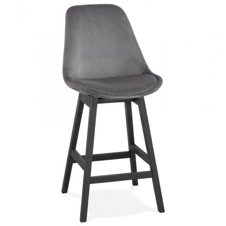 Tabouret de bar mi-hauteur design en velours pieds noirs CAMY MINI (gris)