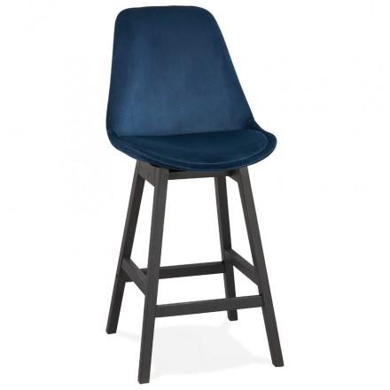 Design del set di barre a mezza altezza in velluto nero piedi CAMY MINI (blu)