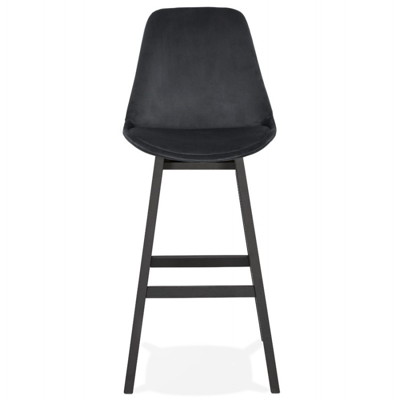 Tabouret de bar design en velours pieds noirs CAMY (noir) - image 46125