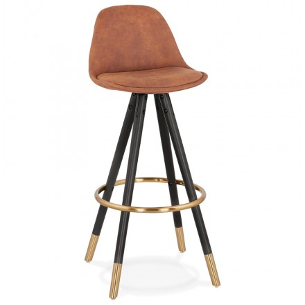 VINTAGE bar stool in microfiber black and gold feet VICKY (brown)