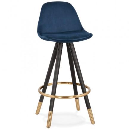 Tabouret de bar mi-hauteur design en velours pieds noirs et dorés NEKO MINI (bleu)