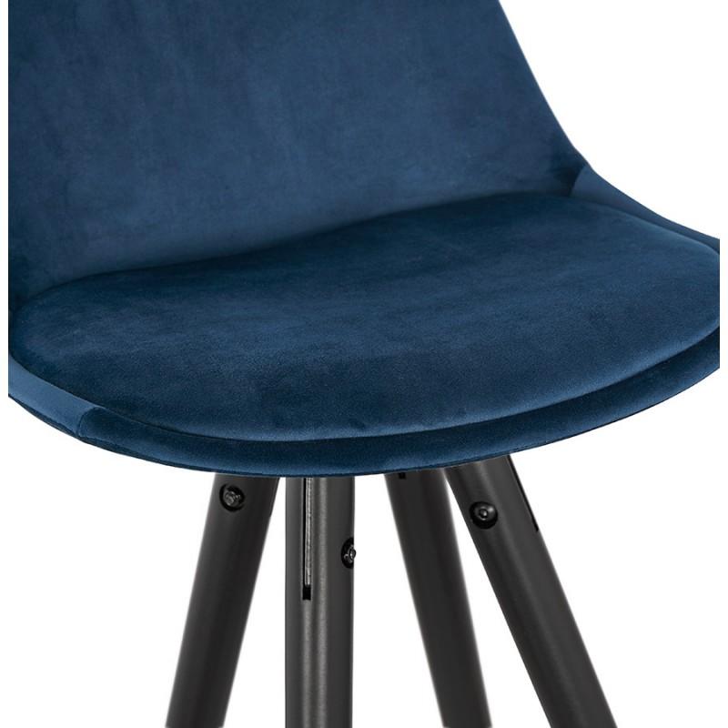 Tabouret de bar design en velours pieds noirs et dorés NEKO (bleu) - image 46192