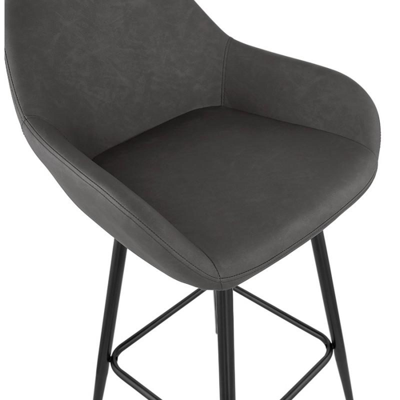 Tabouret de bar design chaise de bar pieds noirs NARNIA (gris foncé) - image 46215