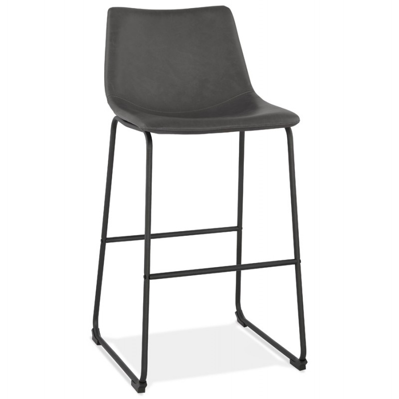 Tabouret de bar chaise de bar vintage pieds noirs JOE (gris foncé) - image 46222