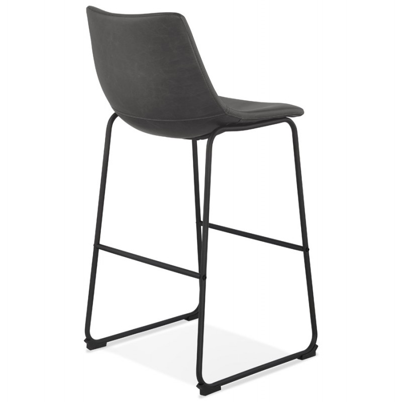 Tabouret de bar chaise de bar vintage pieds noirs JOE (gris foncé) - image 46225