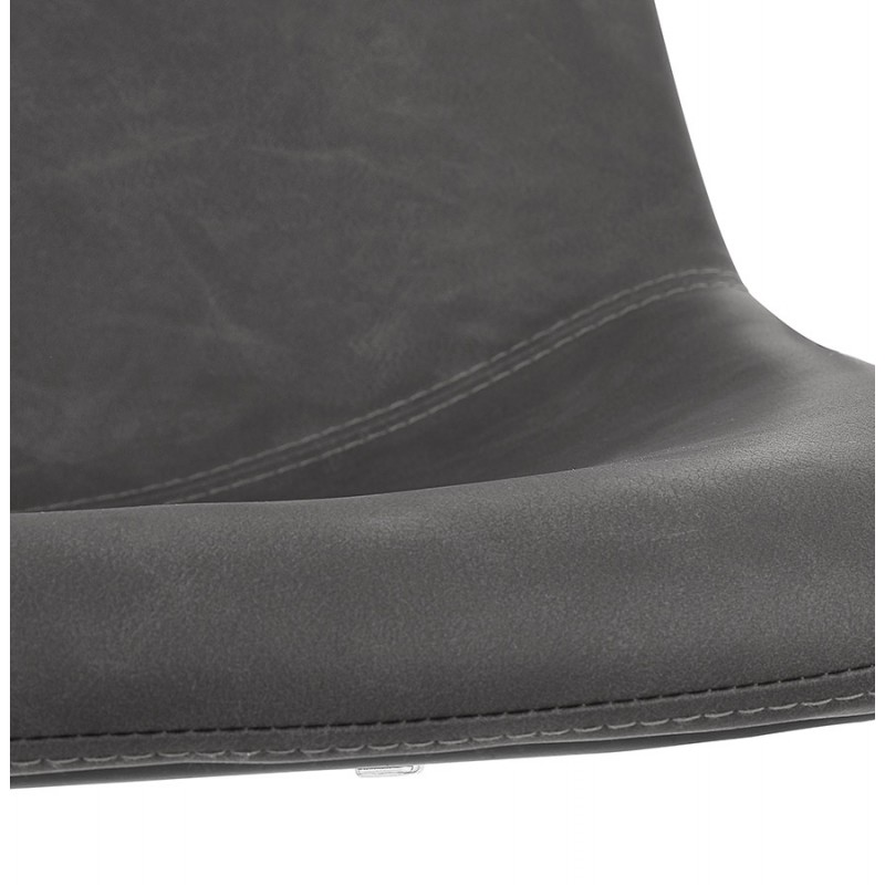 Tabouret de bar mi-hauteur vintage pieds noirs JOE MINI (gris foncé) - image 46240