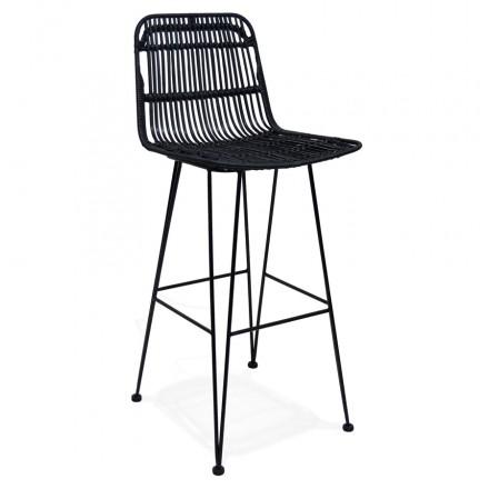 Bar sedia in nero piede rattan PRETTY (nero)
