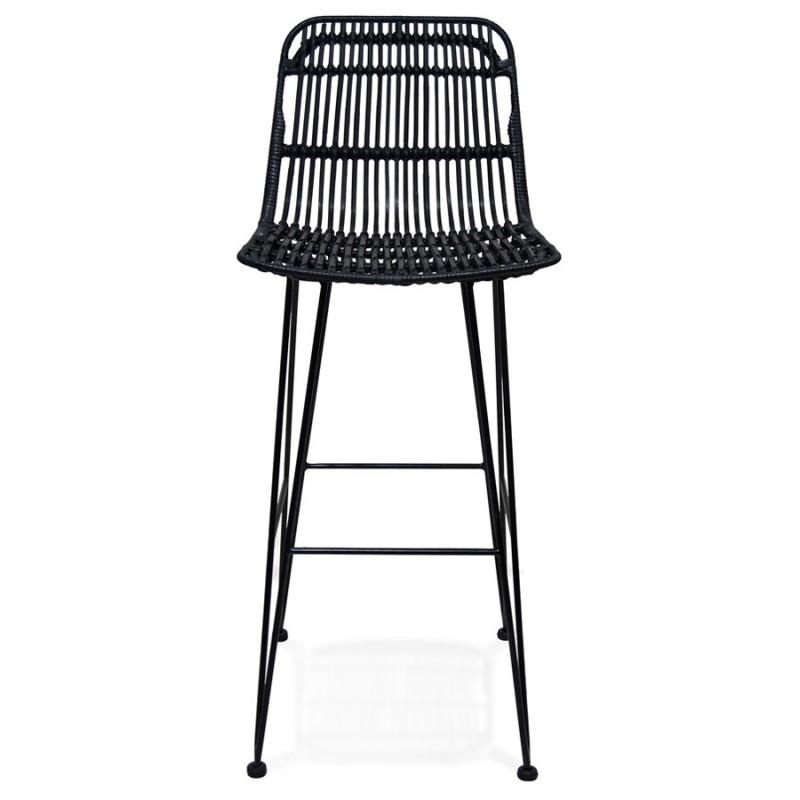 Tabouret de bar chaise de bar en rotin pieds noirs PRETTY (noir) - image 46254