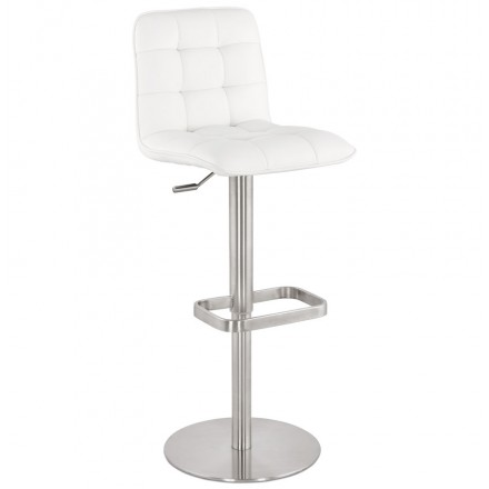 ANAIS quilted and adjustable bar stool (white)