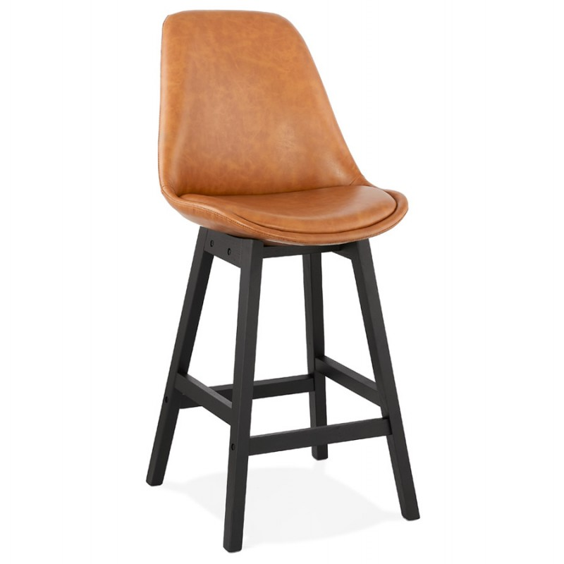 Tabouret de bar chaise de bar mi-hauteur design pieds noirs DAIVY MINI (marron clair) - image 46274