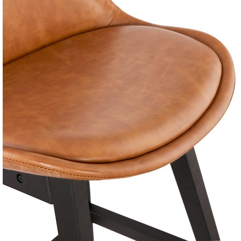 Tabouret de bar chaise de bar mi-hauteur design pieds noirs DAIVY MINI (marron clair) - image 46280