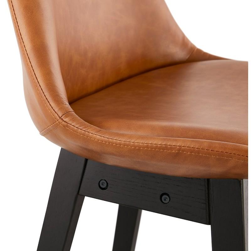 Tabouret de bar chaise de bar mi-hauteur design pieds noirs DAIVY MINI (marron clair) - image 46282