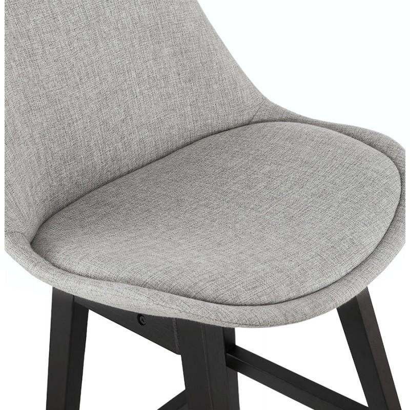 Tabouret de bar chaise de bar mi-hauteur design pieds noirs ILDA MINI (gris clair) - image 46290
